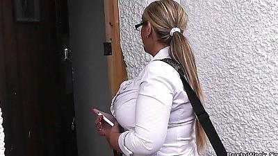 DaniDoor-to-door salesgirl scores..