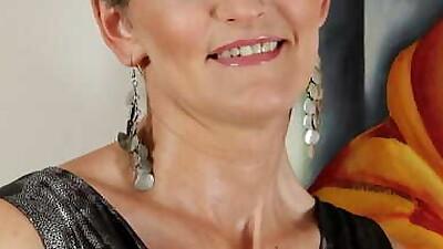 Classy aged woman slides..