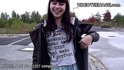 brunette teen does porn casting