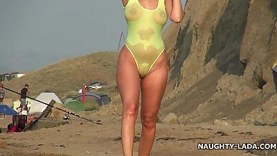 Transparent swimsuit and nude on..