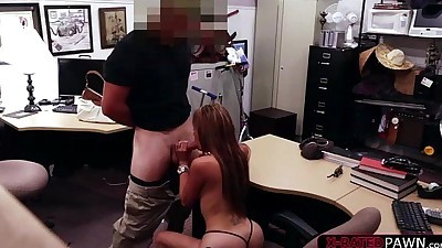 Brunette and sexy bitch sells her..