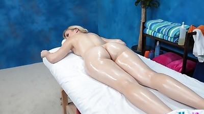 Oiled blondie Alexa has her pussy..