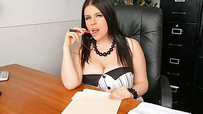 Raven haired secretary seduces..