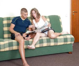 Barefoot cougar Olga taking cumshot from younger man on..