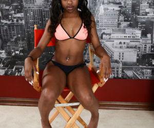Ebony amateur Amilian Kush stretches black pussy showing..