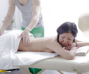 Petite Asian sweetie Miranda enjoys hot oil massage before..