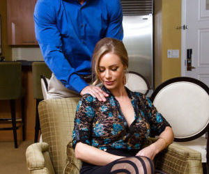 Blonde housewife Nicole Aniston receives massage before..