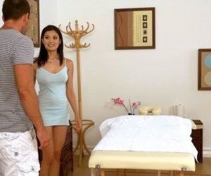Sexy Asian masseuse in mini dress gives hot handob after..