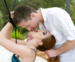 Beautiful redhead submissive takes cumshot in mouth after..