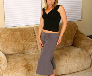 Playful blonde mature lassie stripping down and spreading..