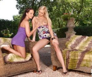 European lesbians Eve and Tracy Lindsay tease each other..