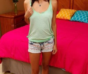 Cute babe Jade Jantzen strips off denim shorts baring..