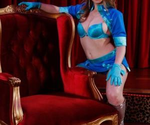 Playful MILF in provocative outfit undressing and..