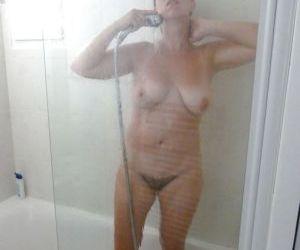 Picture- showering stepmom ignorant of the spy camera