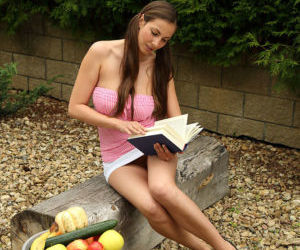 Amateur teen Connie Carter takes a study break to..