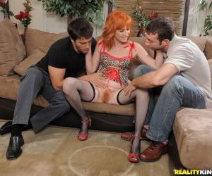 Mature redhead Sasha Brand fucked by two guys and got cum..