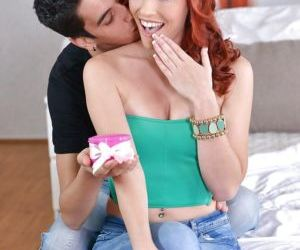 Redhead slut Susana Melo chokes on his big cock after he..