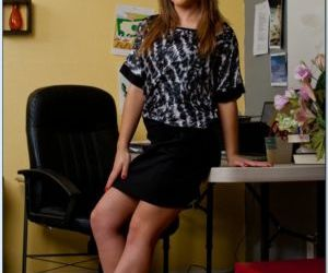 Lovely babe Kristina Rose strips in the office to feel her..