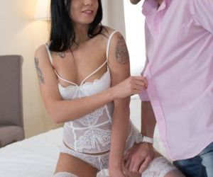 Dark haired female in sexy lingerie and lace panties gets..