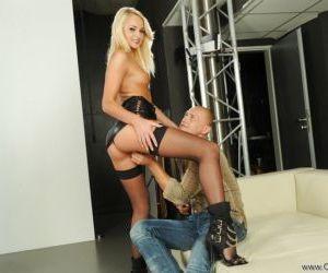 Beautiful blond pornstar Ivana Sugar stroking one cock..