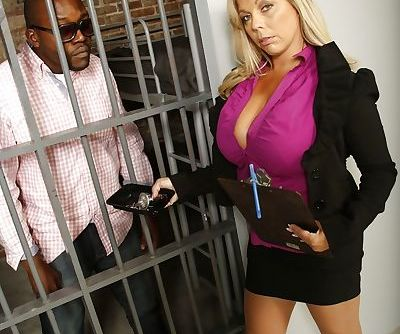 Black guy gets released so he can penetrate Amber Lynn Bach with his meat pole