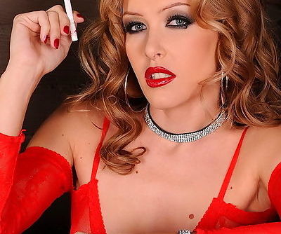 Sultry Sophie Sweet smokes in red body stocking and sexy red lipstick