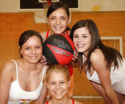 Gorgeous sporty teen girls having lesbian fun after training