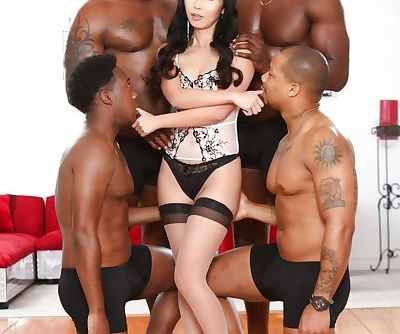 Legendary Asian slut Marica Hase enjoying an interracial gangbang