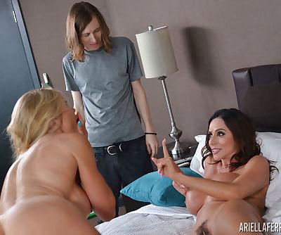 Bisexual females Puma Swede and Ariella Ferrera help a guy lose a load
