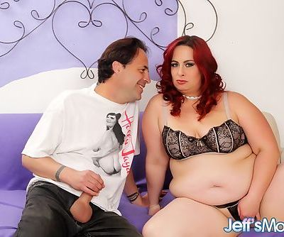 Obese redhead Phoenix Redd blowing dick before hard fucking on couch