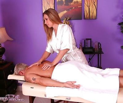 Massage worker Devon Lee undresses and finishes off her client with a blowjob