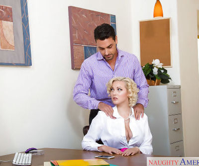 Blonde office worker Jenna Ivory giving coworker bj after receiving massage