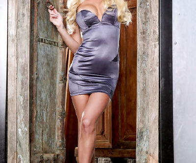 The tight satin dress is stunning on the hot body of Spencer Scott